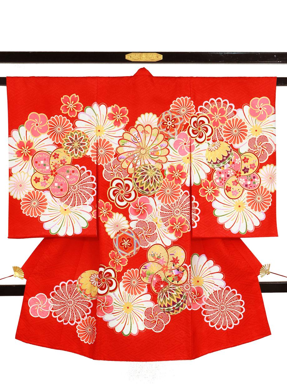赤地に菊と鞠の祝い着(産着)/女児