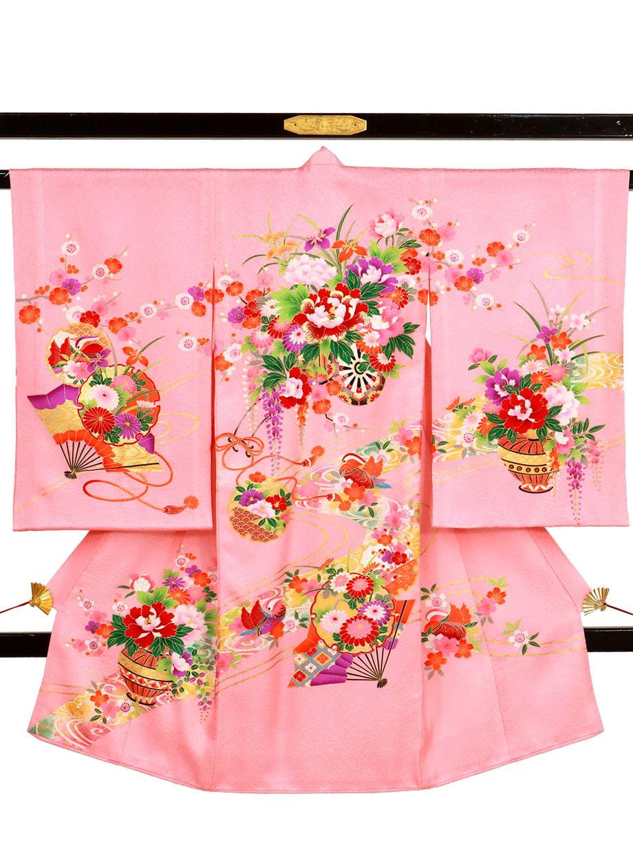ピンク地に花車と雪輪、おしどりの祝い着(産着)/女児