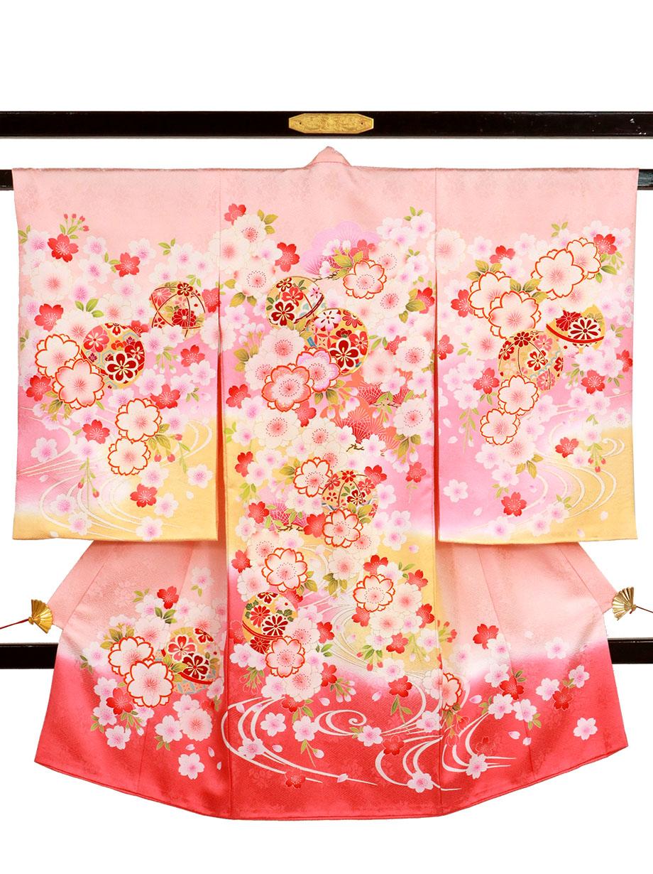桜色に桜と鞠、観世水の祝い着(産着)/女児