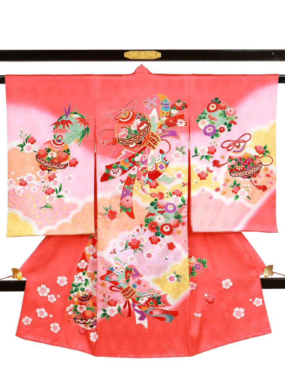 ピンク地に鈴と熨斗目の祝い着(産着)/女児