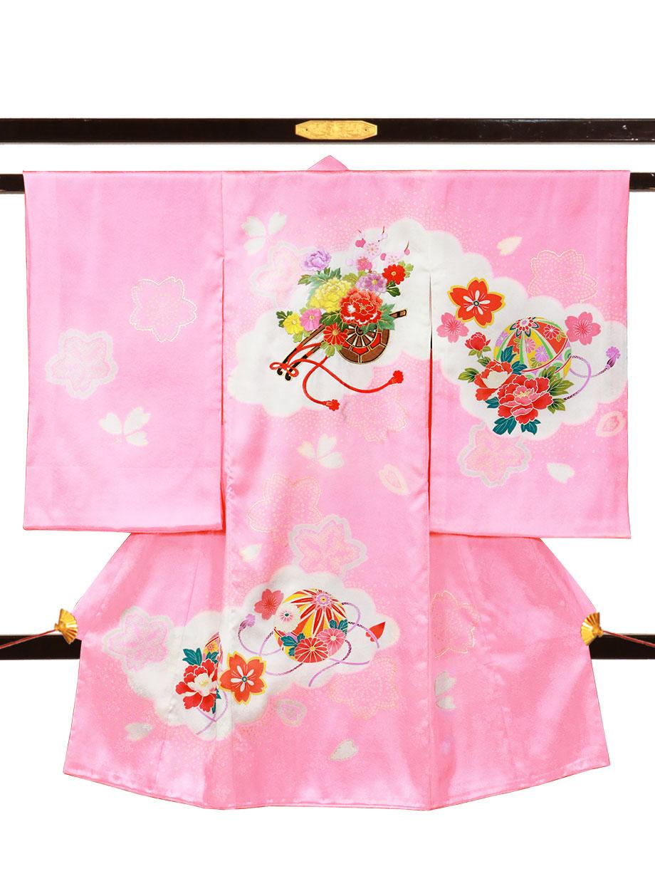 ピンク地に花車と桜の祝い着(産着)/女児