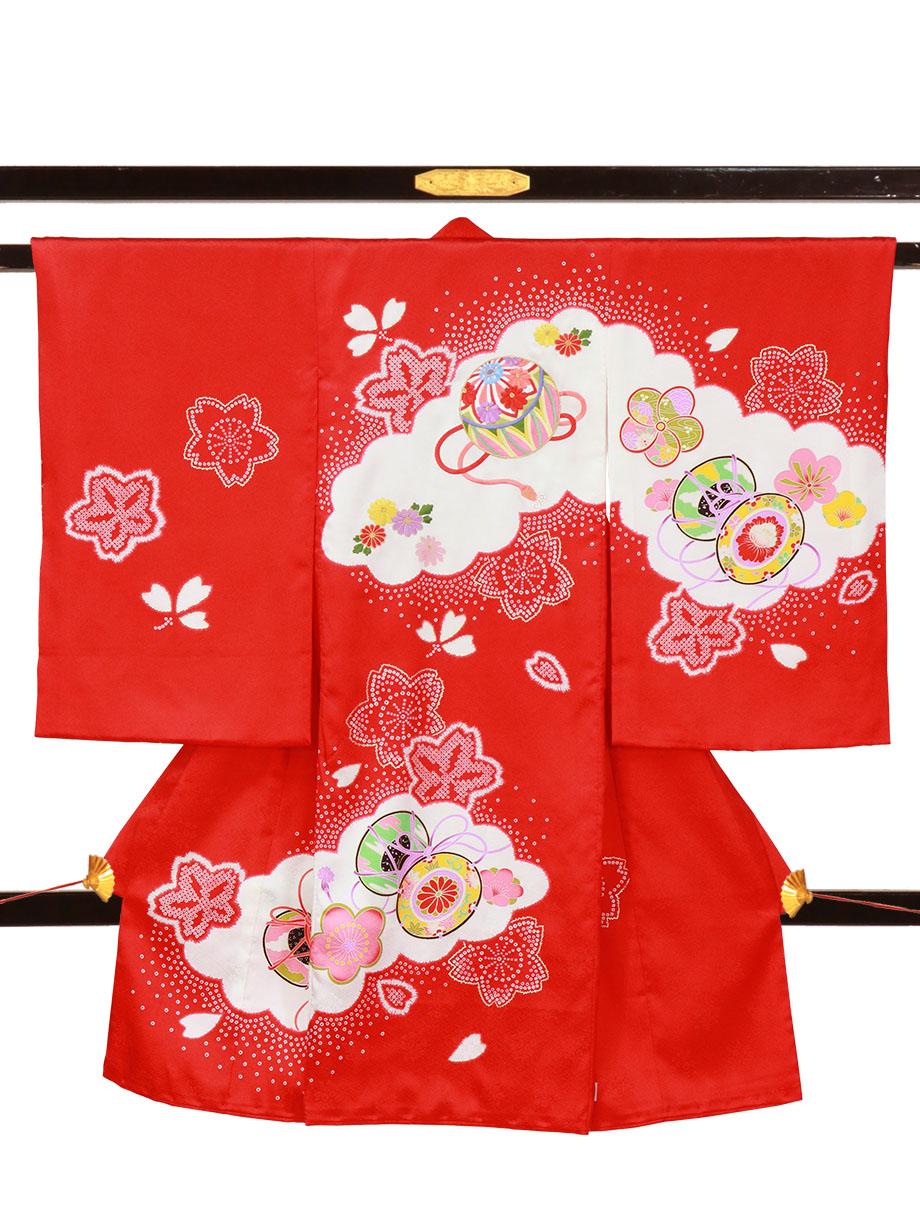赤地に鞠と鼓、桜の祝い着(産着)/女児