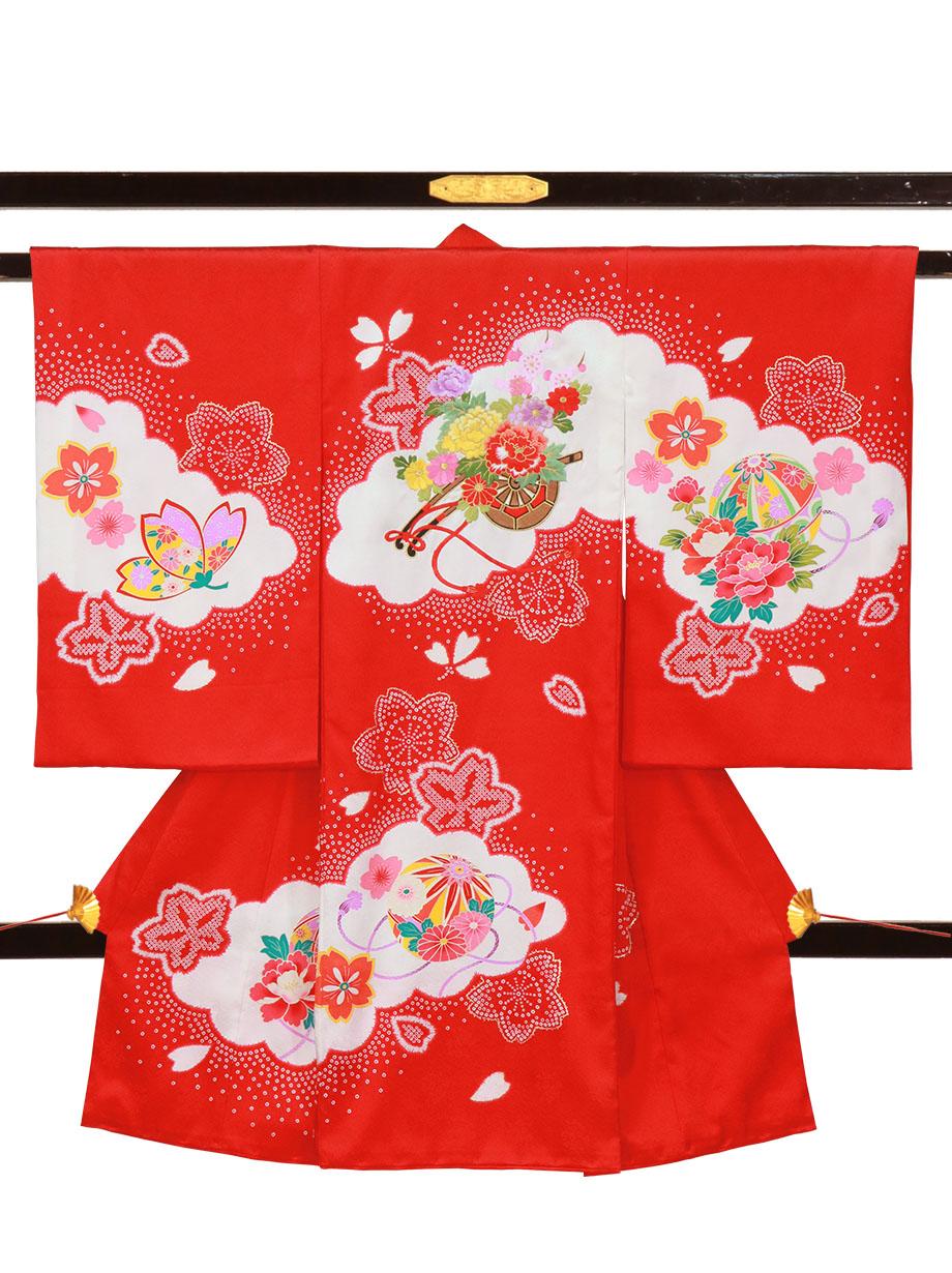 赤地に花車と桜の祝い着(産着)/女児