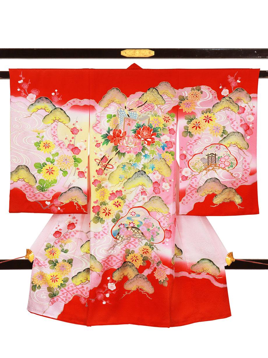 赤地に御所車と松、梅の祝い着(産着)/女児