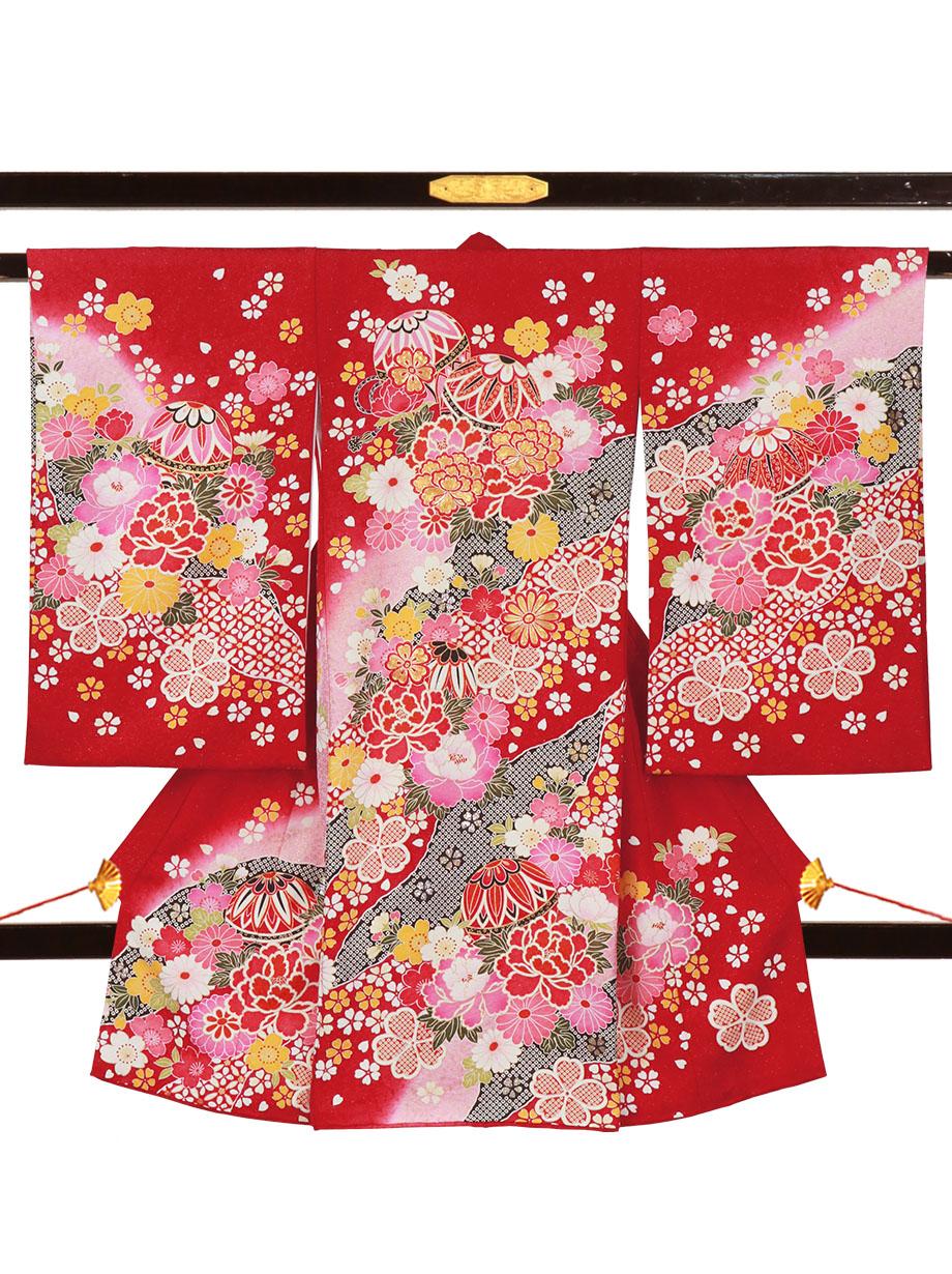 深紅地に鞠と牡丹、桜の祝い着(産着)/女児