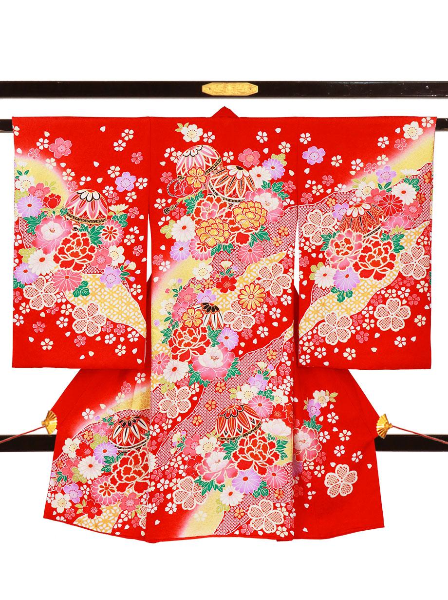 赤地に鞠と牡丹、桜の祝い着(産着)/女児