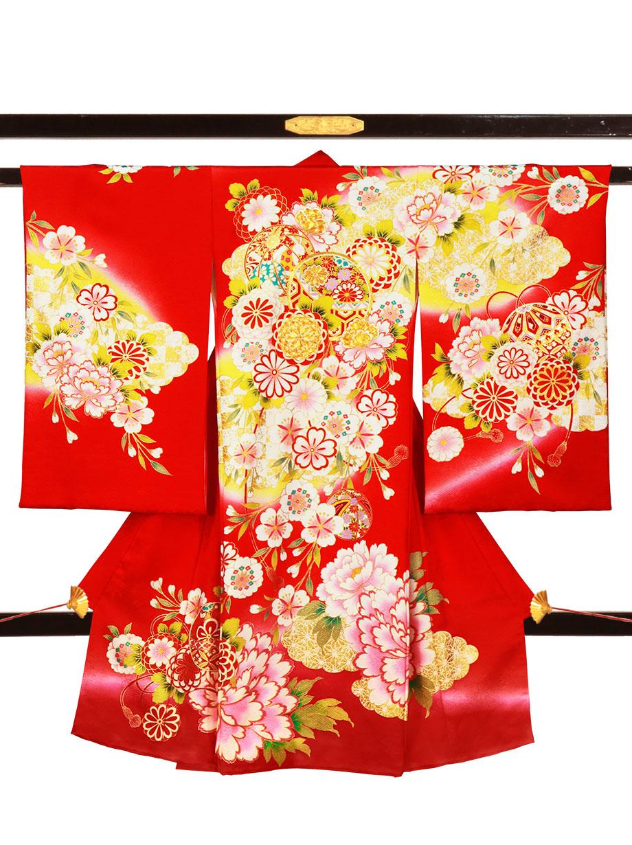 赤地に鞠と大輪の牡丹の祝い着(産着)/女児