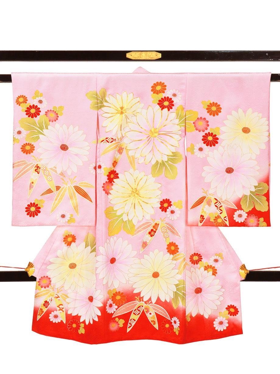 ピンク地に菊と笹の祝い着(産着)/女児