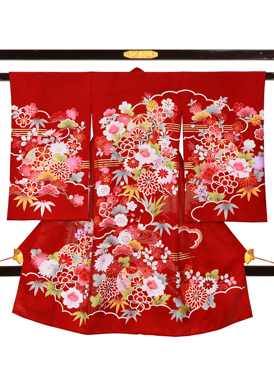 赤地に鞠や四季花の祝い着(産着)/女児