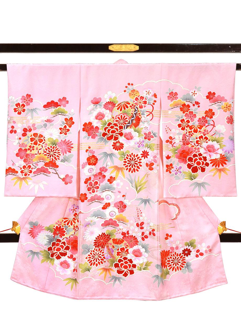 ピンク地に鞠や四季花の祝い着(産着)/女児