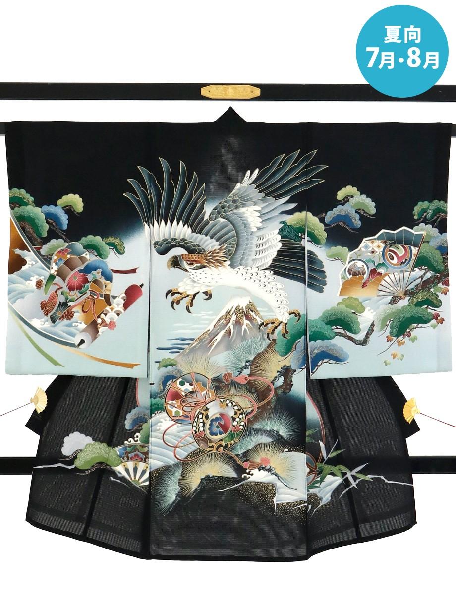 黒地に鷹と富士山の絽の祝い着(産着)/男児