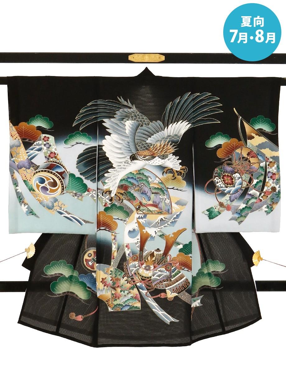 黒地に鷹と兜の絽の祝い着(産着)/男児