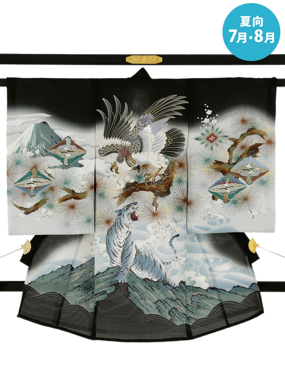 黒地に鷹と白虎の絽の祝い着(産着)/男児