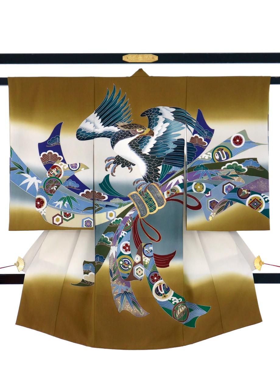 桑茶色に鷹と熨斗の祝い着(産着)/男児