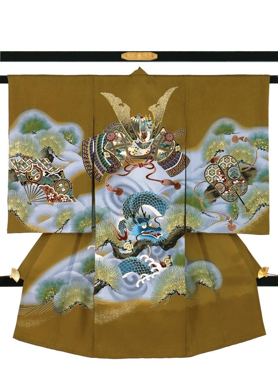 桑茶地に兜と龍の祝い着(産着)/男児