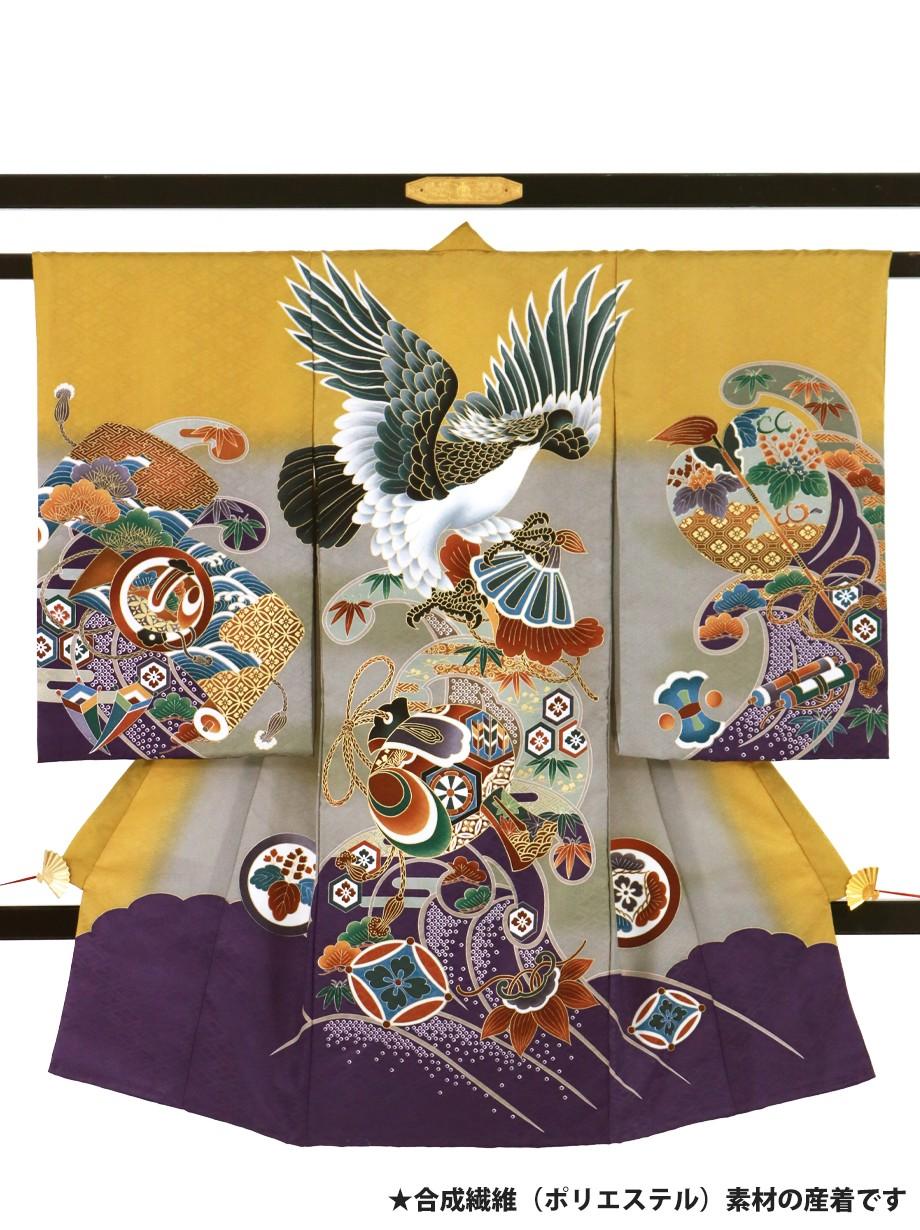 櫨染(はじぞめ)色に鷹と打ち出の小槌の祝い着(産着)/男児(ポリエステル)