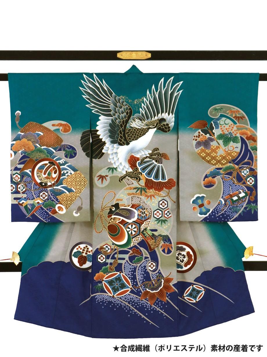 テールグリーンに鷹と打ち出の小槌の祝い着(産着)/男児(ポリエステル)