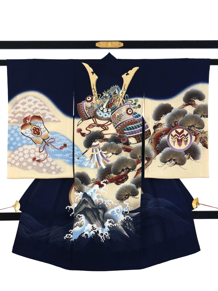 紺地に兜の三つ並び矢と松の祝い着(産着)/男児