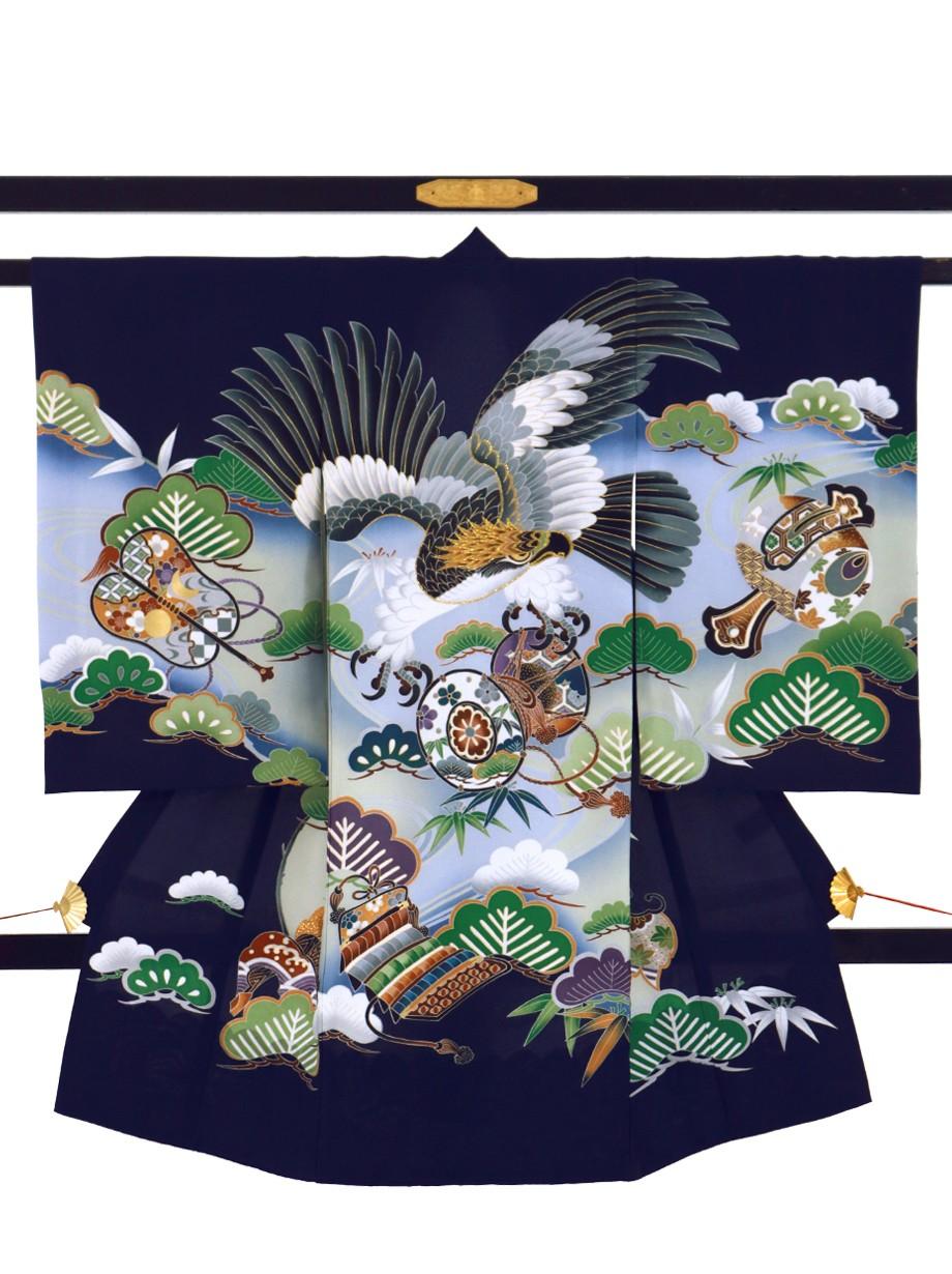 紺地に鷹と鼓、松の祝い着(産着)/男児