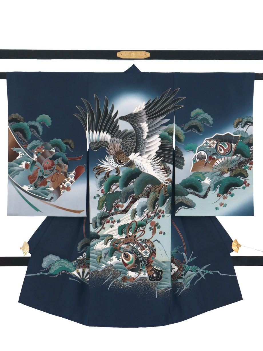 鉄紺地に鷹と松、打ち出の小槌の祝い着(産着)/男児