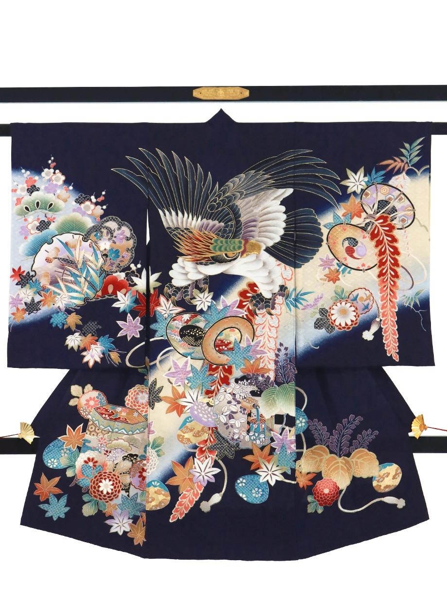紺地に鷹と四季草花文の祝い着(産着)/男児