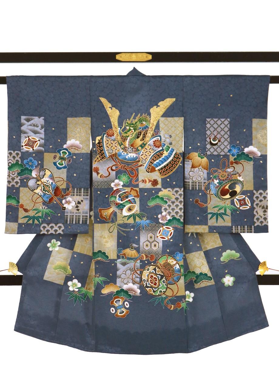 青鼠(あおねず)色に市松文様、兜と吉祥柄の祝い着(産着)/男児