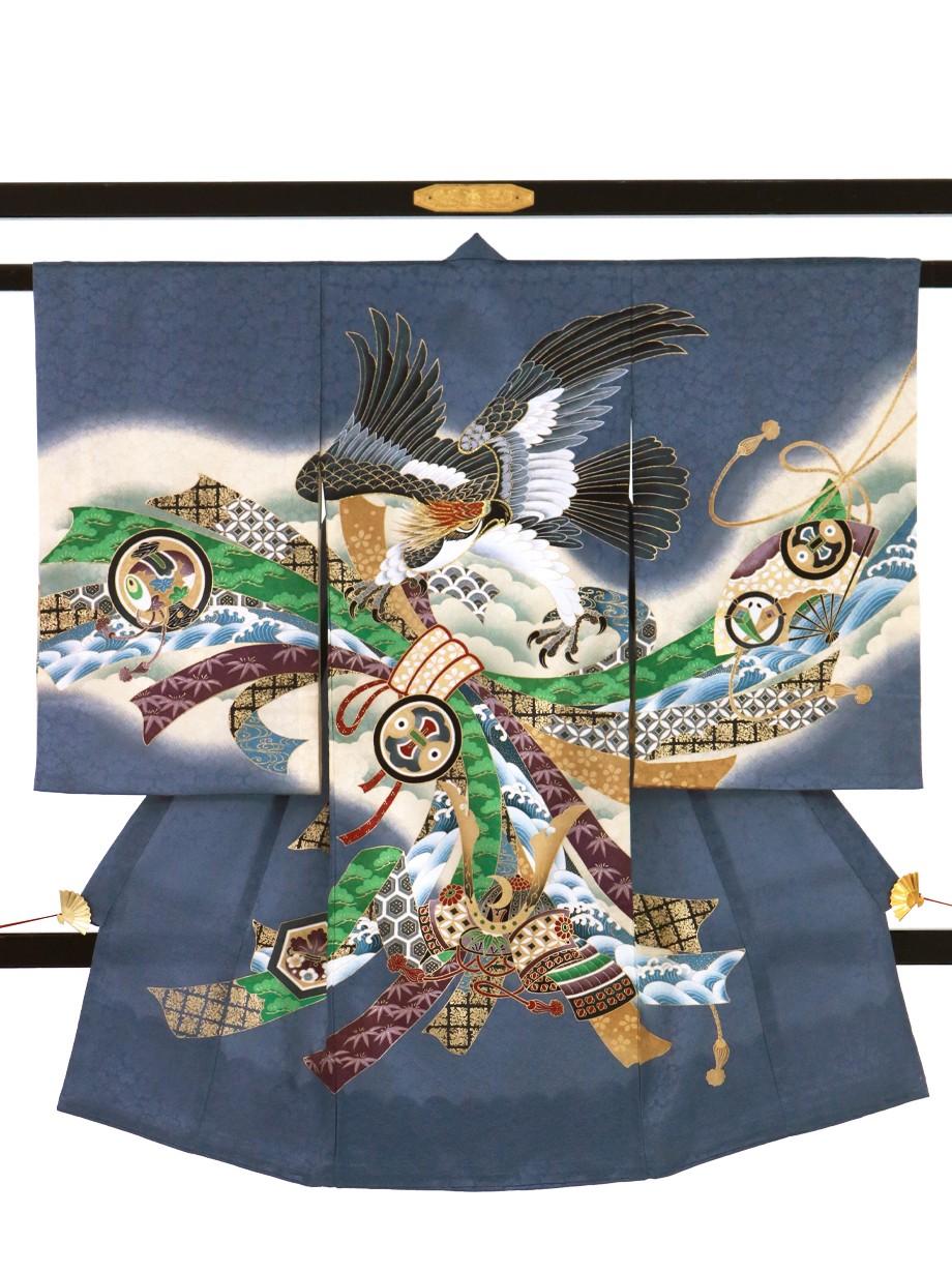 青鼠(あおねず)色に鷹と束ね熨斗の祝い着(産着)/男児