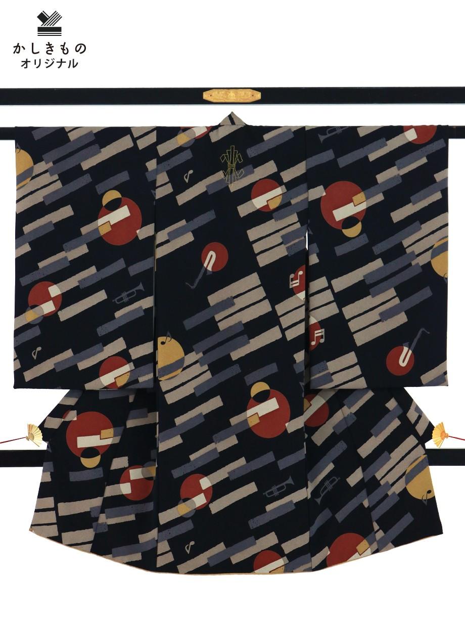 黒地に鍵盤と楽器模様の祝い着(産着)/男児(かしきものオリジナル)1