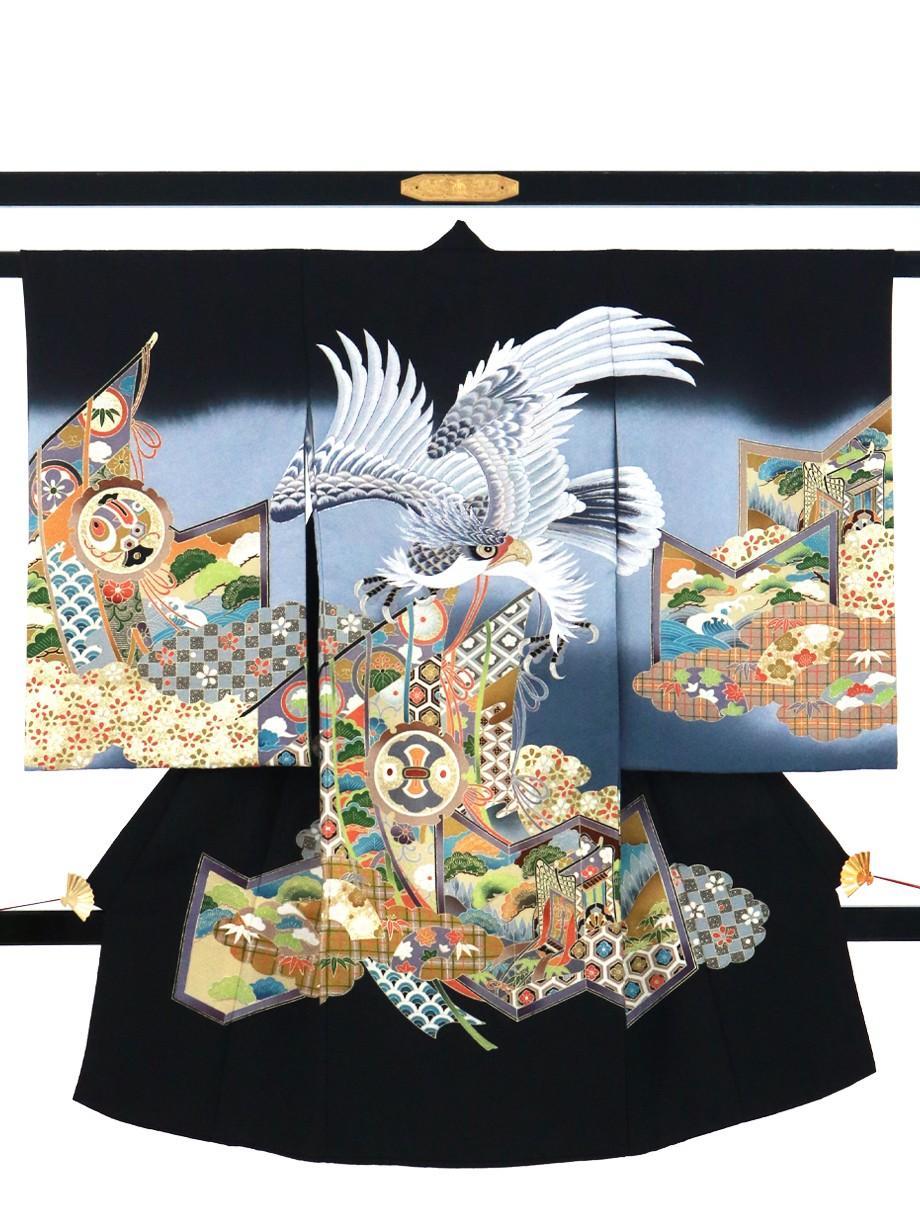 黒地に白銀の鷹、屏風の祝い着(産着)/男児