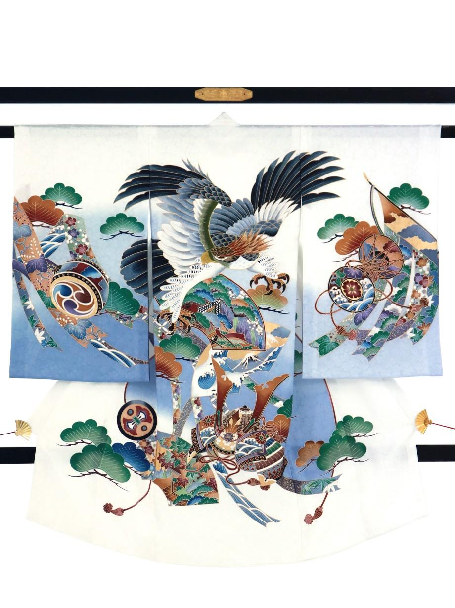 白地に鷹と兜に扇面の祝い着(産着)/男児
