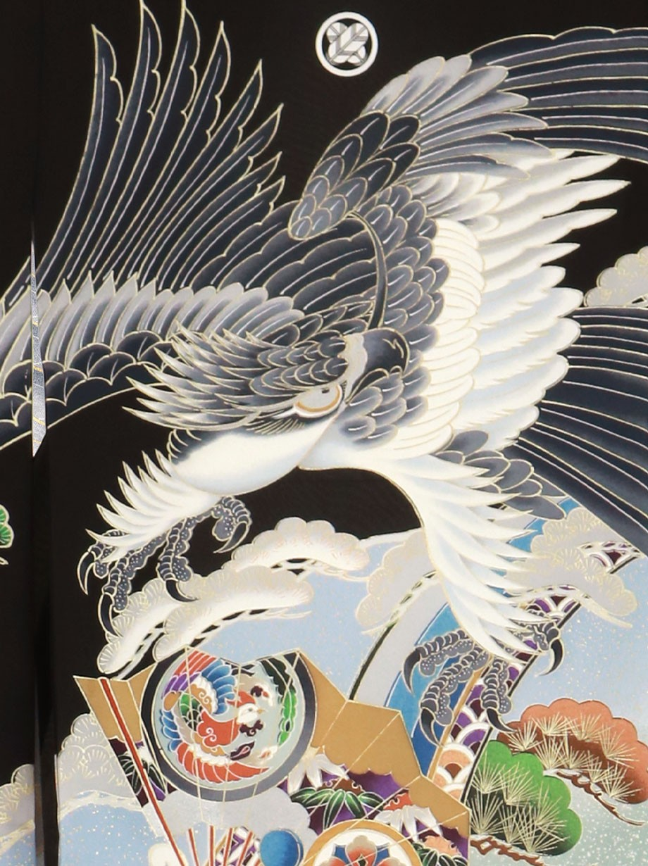 黒地に鷹と纏に扇面の祝い着(産着)/男児