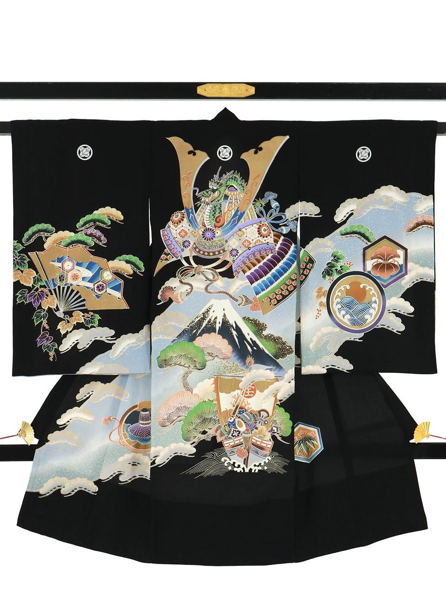 黒地に兜と富士山に宝船の祝い着(産着)/男児