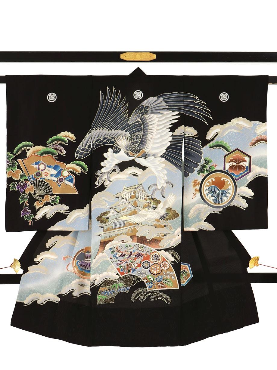 黒地に鷹と城に扇面の祝い着(産着)/男児