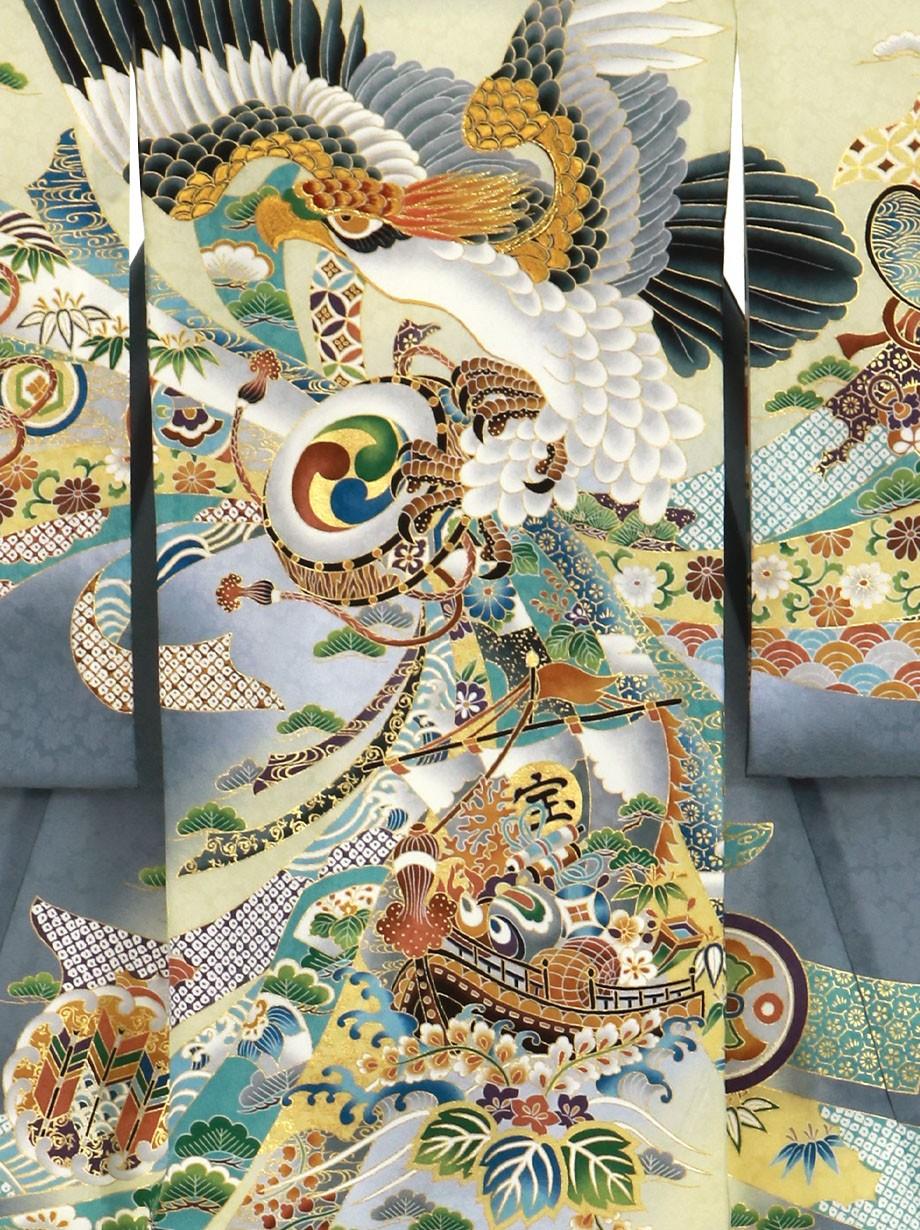グレー地に鷹と束ね熨斗、宝船の祝い着(産着)/男児