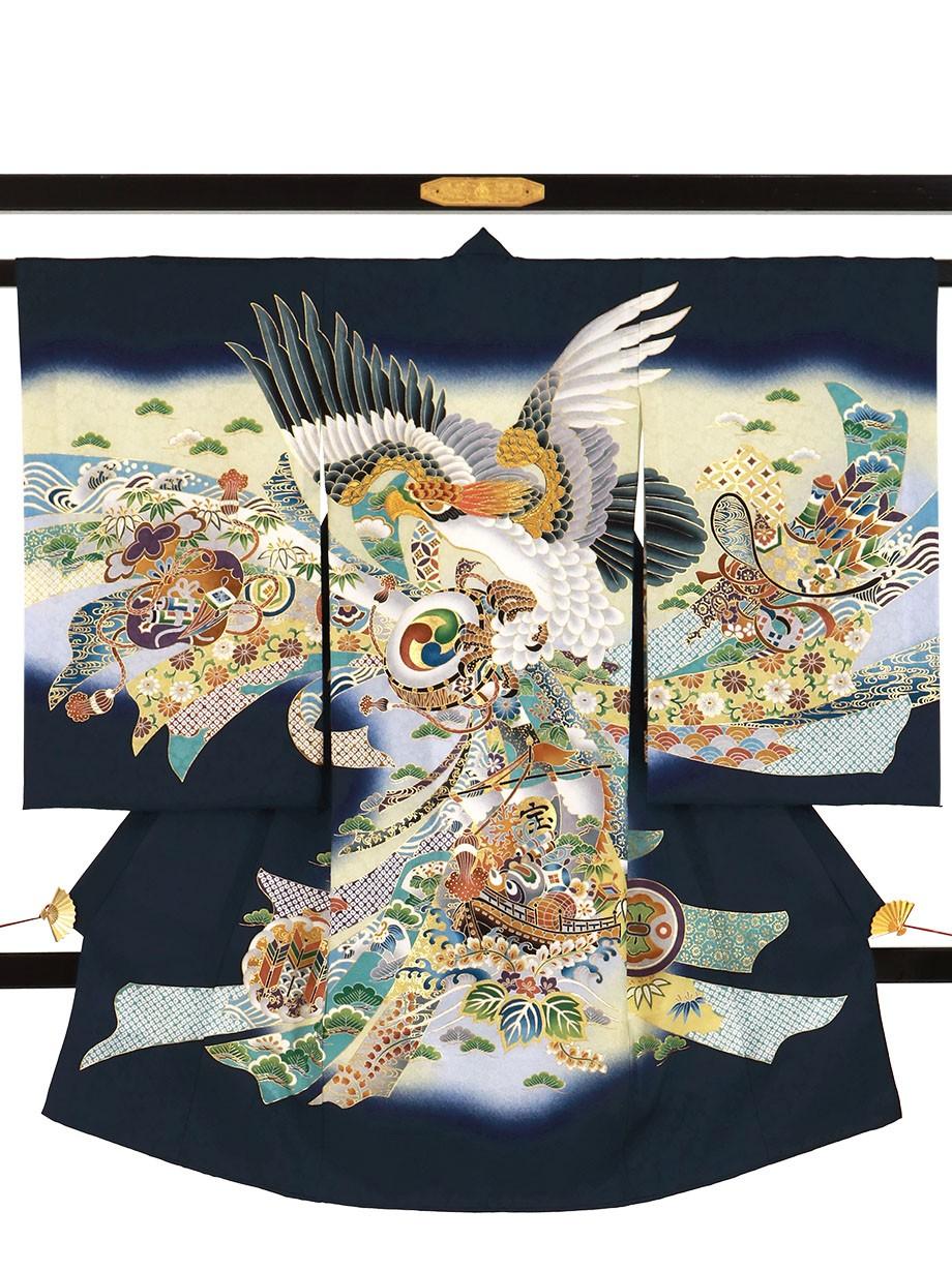 紺地に鷹と束ね熨斗、宝船の祝い着(産着)/男児