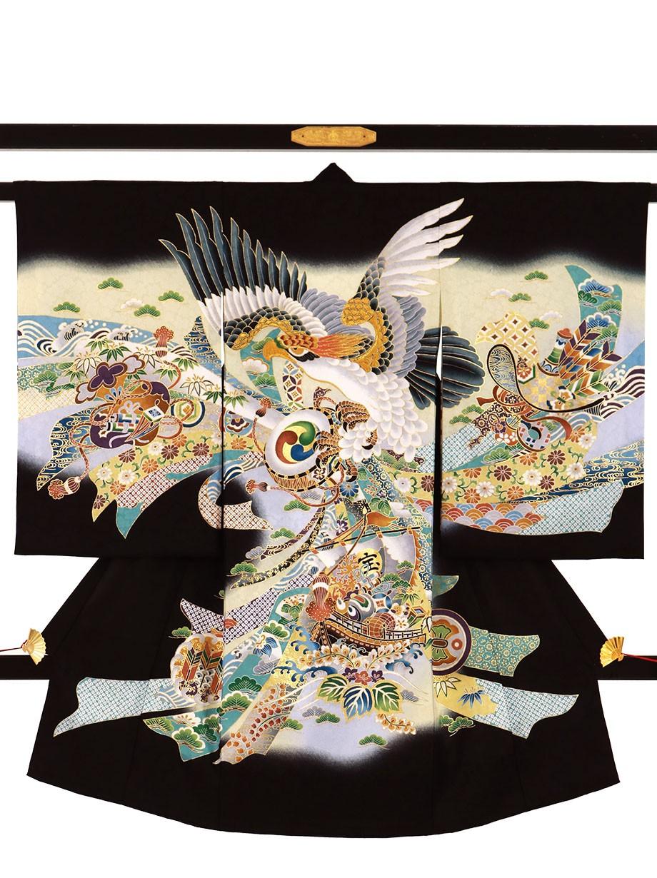 黒地に鷹と束ね熨斗、宝船の祝い着(産着)/男児