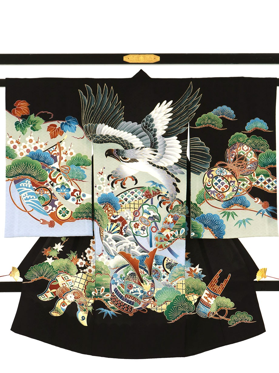 黒地に鷹と熨斗、鼓の祝い着(産着)/男児
