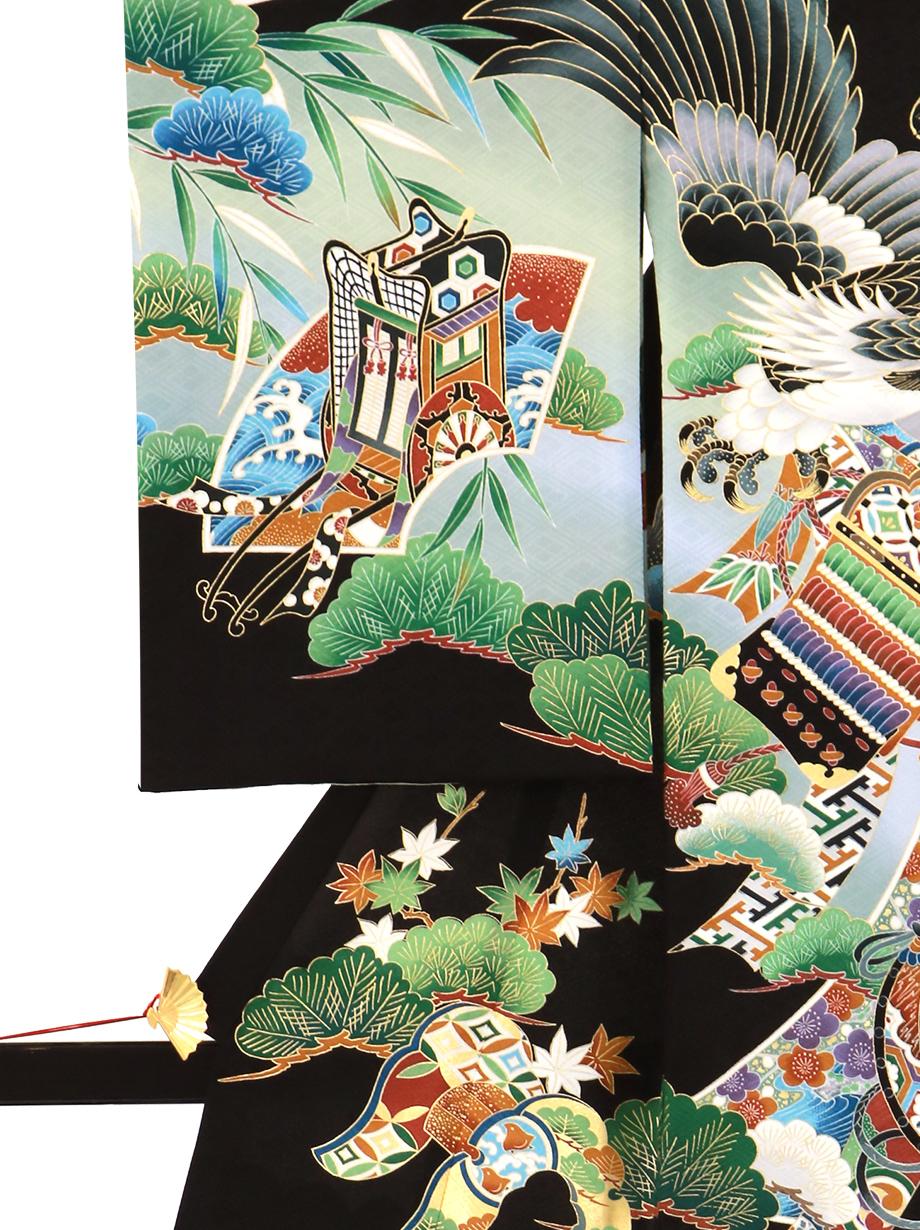 黒地に鷹と熨斗に太鼓の祝い着(産着)/男児