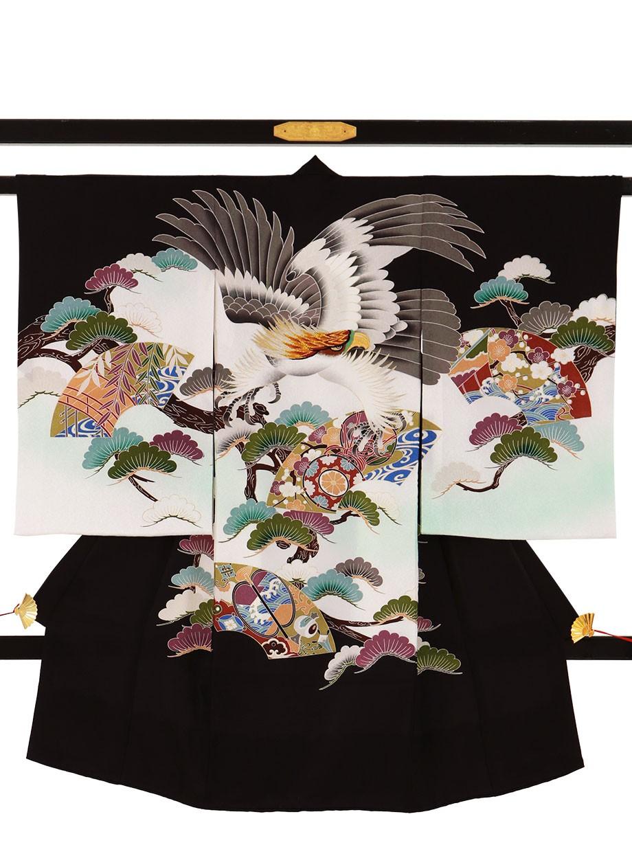 黒地に鷹と地紙、松の祝い着(産着)/男児