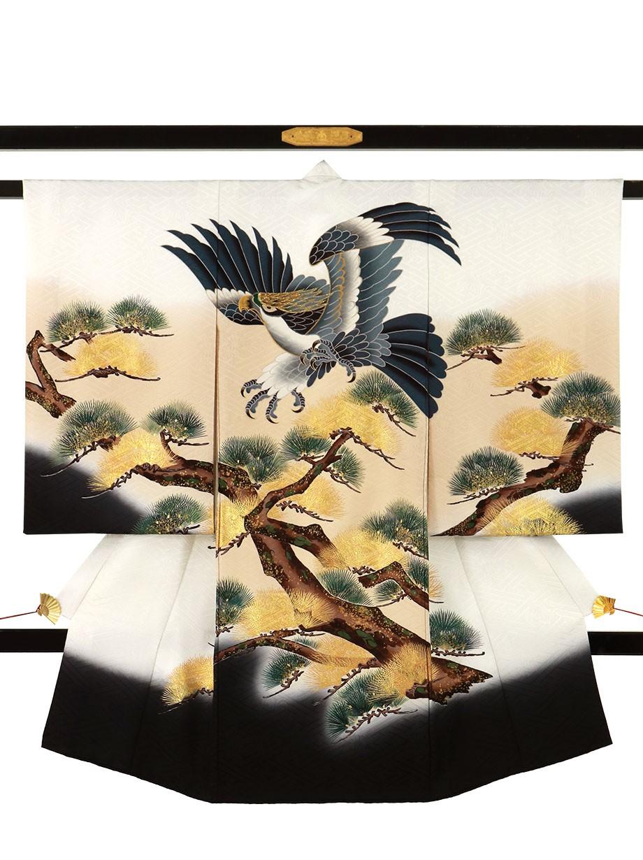 白地に鷹と針松の祝い着(産着)/男児