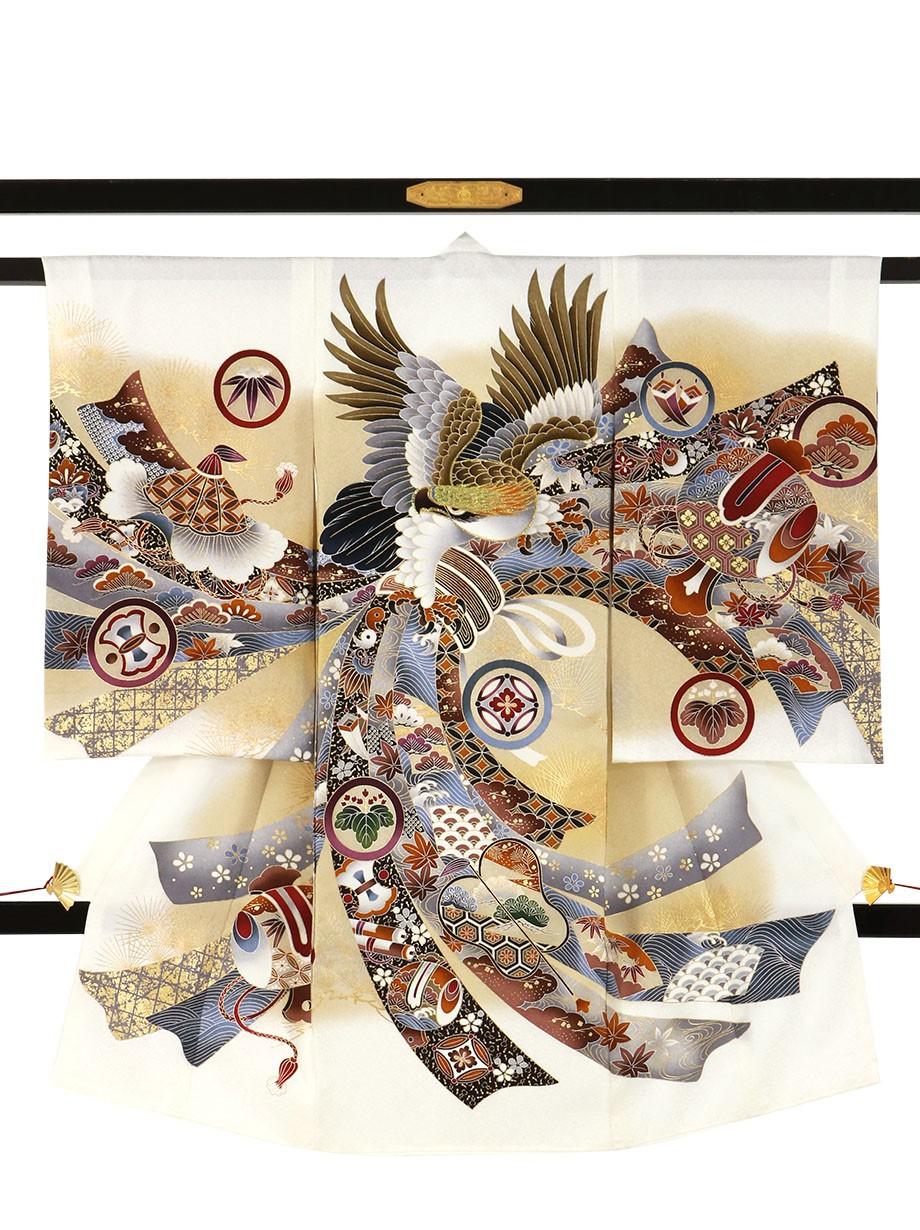 白地に鷹と束ね熨斗、紋尽くしの祝い着(産着)/男児