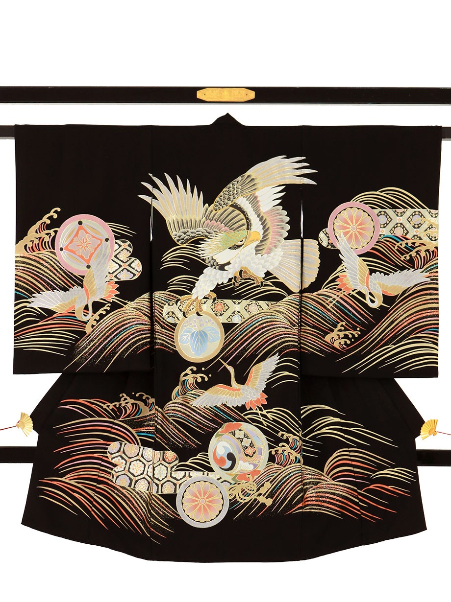 黒地に鷹と鶴、波の祝い着(産着)/男児