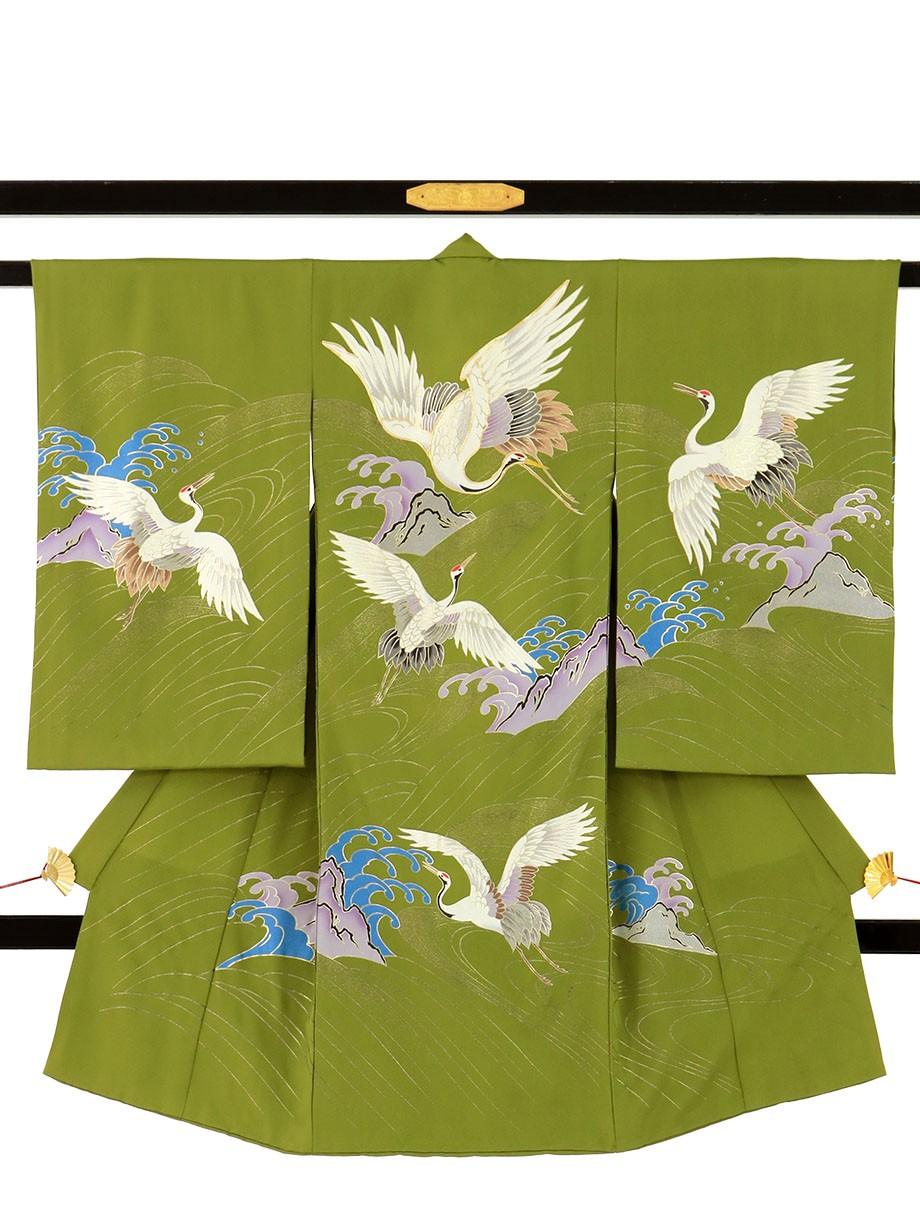 抹茶地に鶴と波の祝い着(産着)/男児