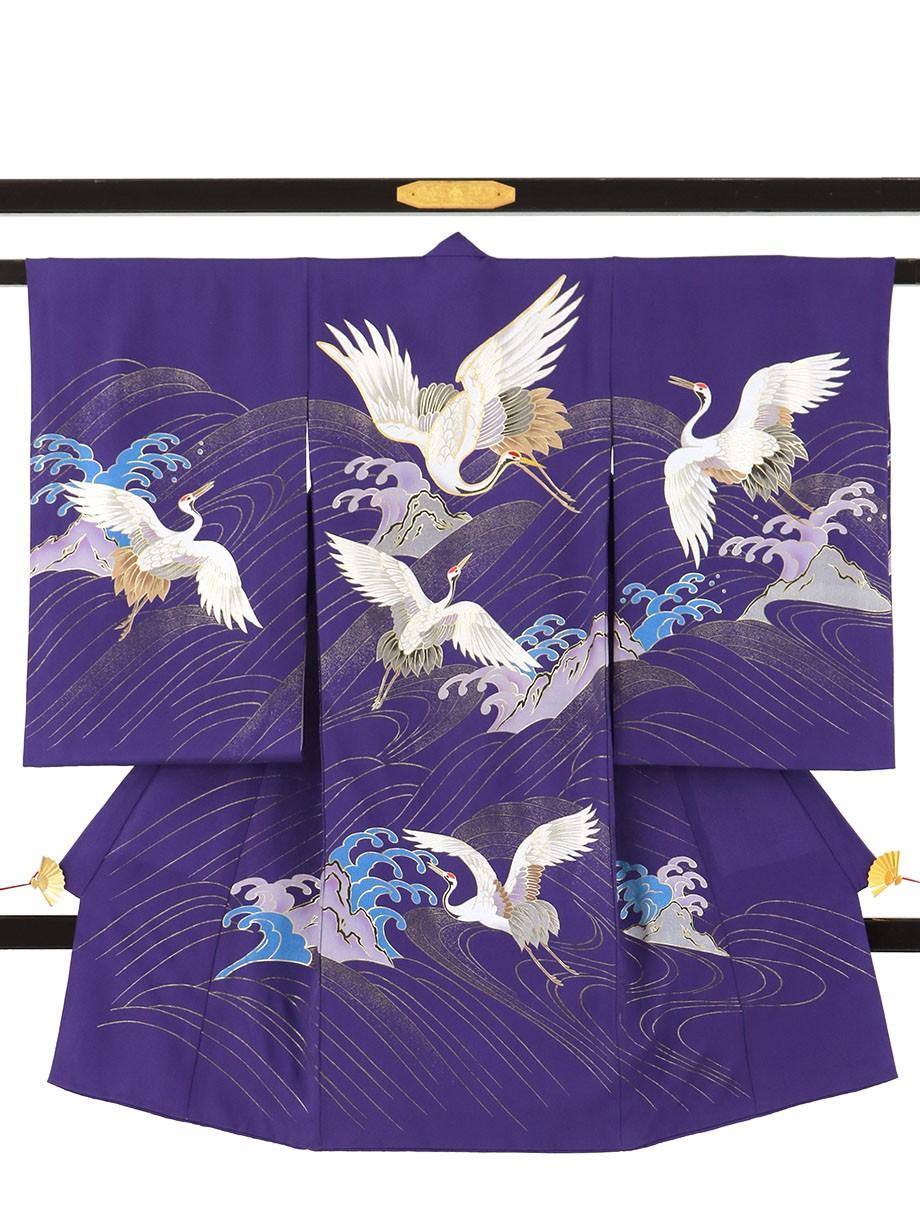 紫地に鶴と波の祝い着(産着)/男児