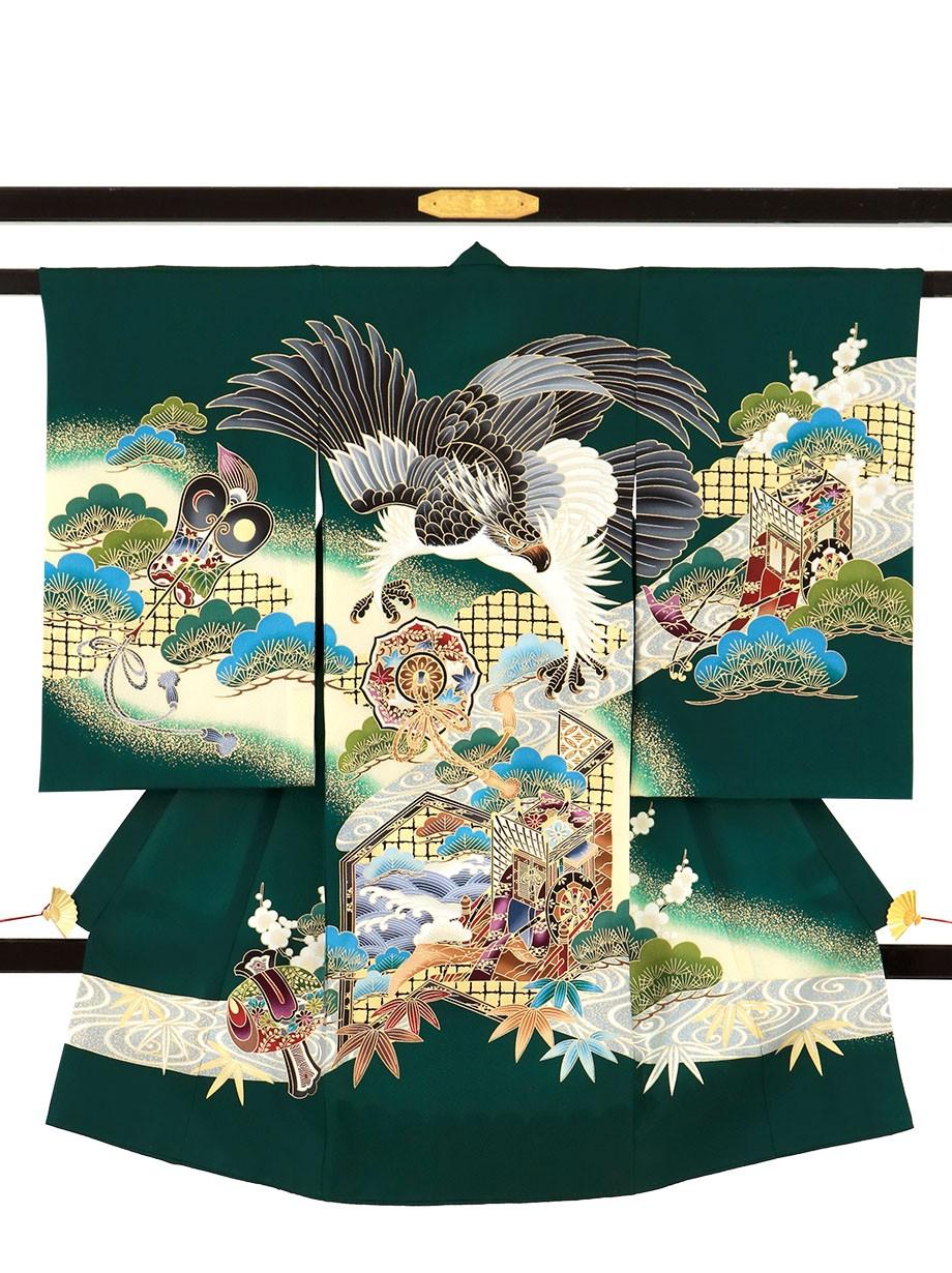 深緑地に鷹と鏡に御所車の祝い着(産着)/男児