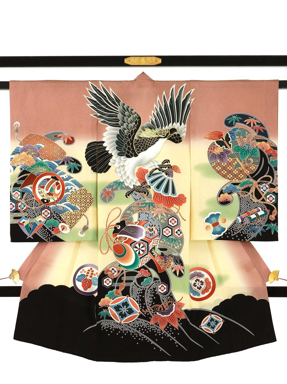 ときがら茶色に鷹と波紋、打ち出の小槌の祝い着(産着)/男児