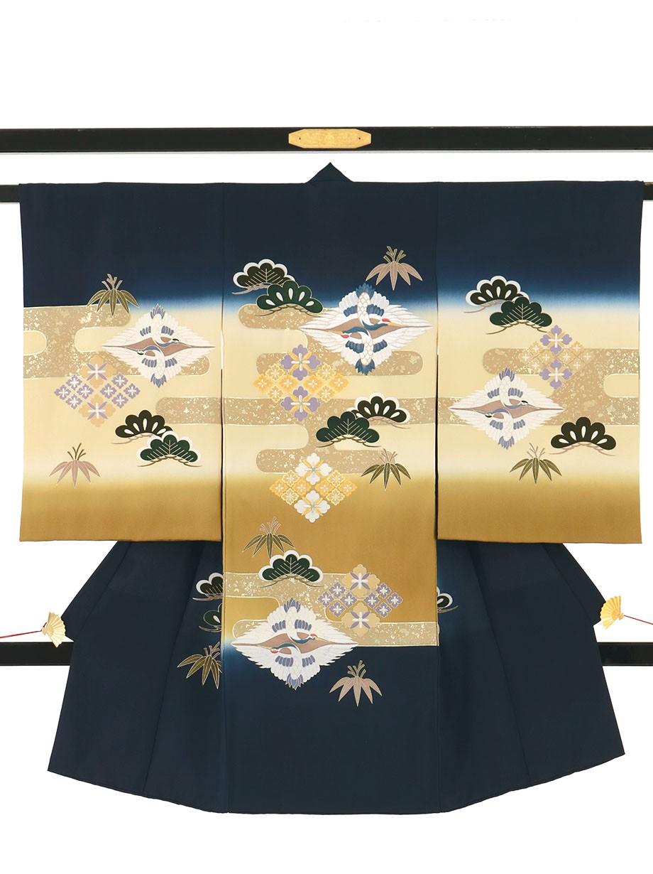 紺色地に向かい鶴菱に松の祝い着(産着)/男児