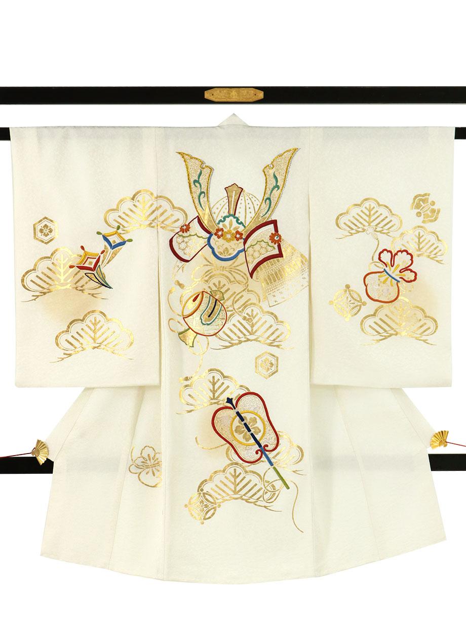 白地に兜と打ち出の小槌に軍配の祝い着(産着)/男児