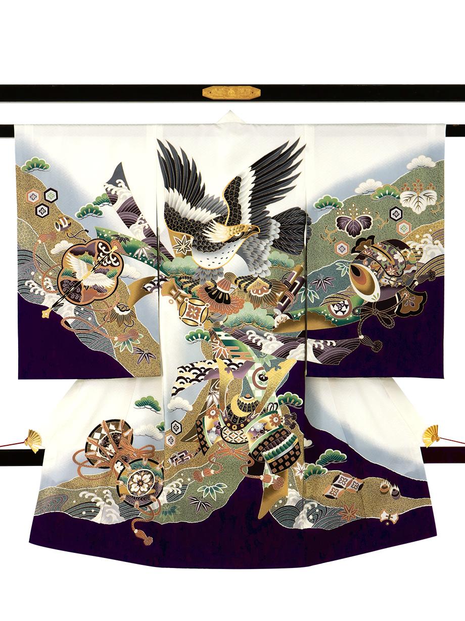 白地に鷹と束ね熨斗、道長取りの祝い着(産着)/男児