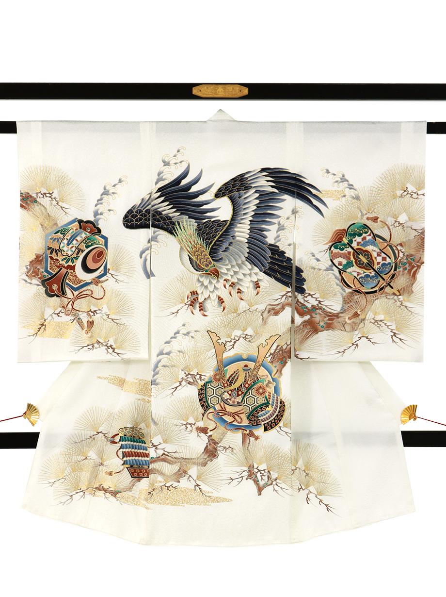白地に鷹と松の祝い着(産着)/男児
